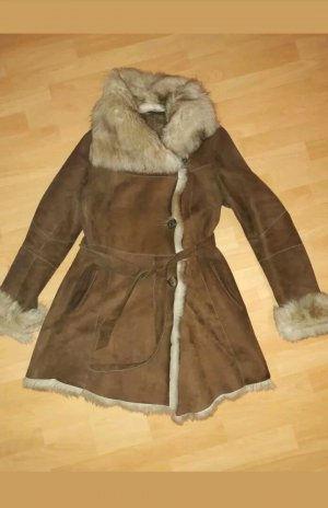 Elégance Paris Cappotto invernale marrone-grigio Pelliccia
