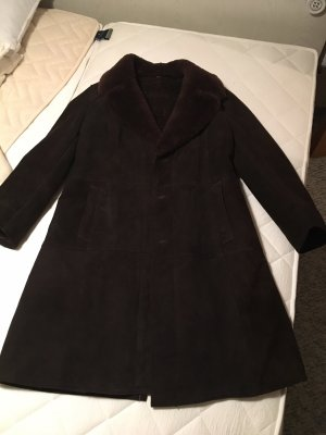 Cappotto in pelle marrone-nero-marrone scuro