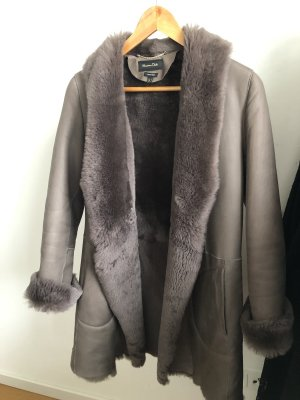 Massimo Dutti Pelt Coat taupe-grey brown
