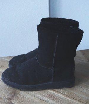 Lammfell Shepherd Winter Boots Ankle Stiefel schwarz Fell Echtleder Leder 38
