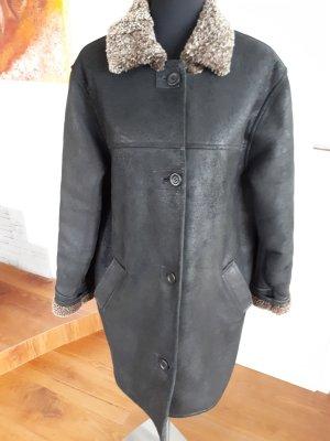 Karstadt Manteau en cuir noir cuir