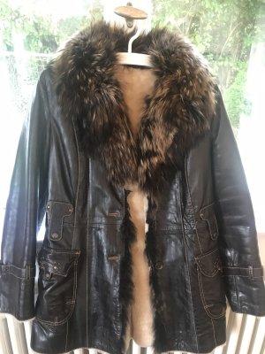 Manteau en cuir brun-beige clair