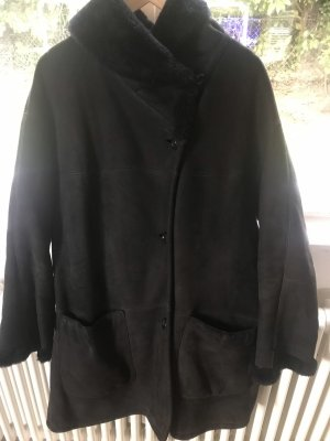 Manteau en cuir bleu foncé