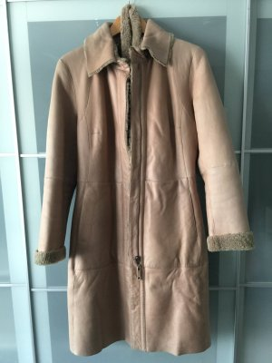 Marc Cain Leather Coat cream leather