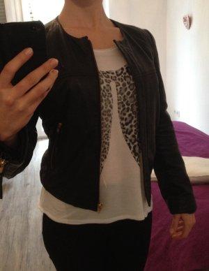 Lammleder- Jacke ohne Kragen