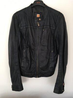 Boss Orange Leather Jacket dark blue
