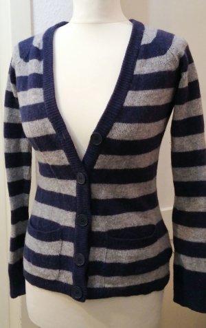 Lammwolle Pulli S-M Streifen Blau grau, Strick, Knit, Pulli, Pullover, Cardigan