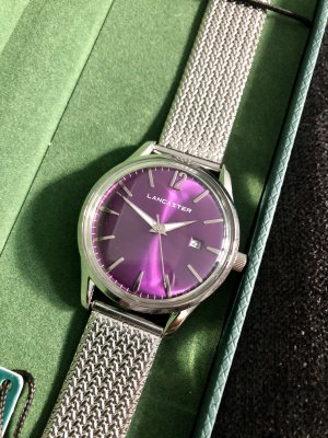 LANCASTER Watch With Metal Strap silver-colored-lilac stainless steel