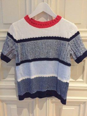 Land's End Strick-Shirt Pullover gestreift Streifen blau rot weiss – NEU – S