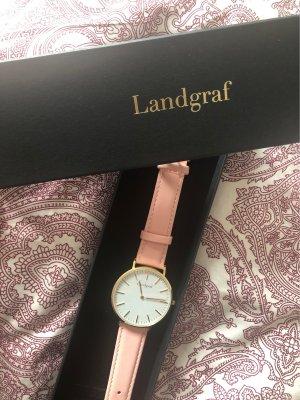Montre avec bracelet en cuir rosé-doré