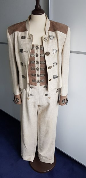 Feelings Traditional Jacket grey brown-oatmeal linen