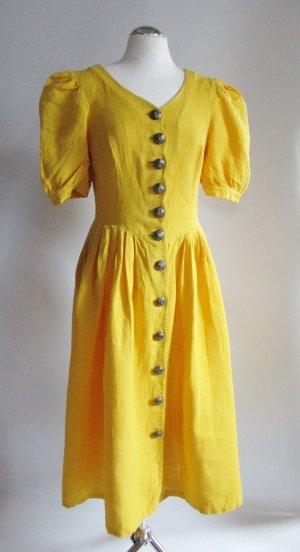 Landhaus Leinenkleid Vintage Größe M 38 40 Gelb Kleid Midikleid Metallknopf Trachten Rockabilly Puffärmel Muschel Fischchen