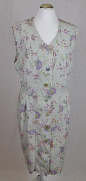 Landhaus Pastell Look Midikleid Kleid Vintage 80er Fiorello Größe XL 44 Grün Rosa Flieder Hemdblusenkleid Viskose Perlmutt Knopfleiste Etuikleid Paisley