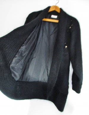 Knitted Coat black-gold-colored mohair
