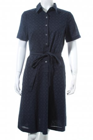 Lands' End Blusenkleid dunkelblau Lochstrickmuster Country-Look