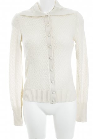 Lands' End Cardigan creme Lochstrickmuster Casual-Look