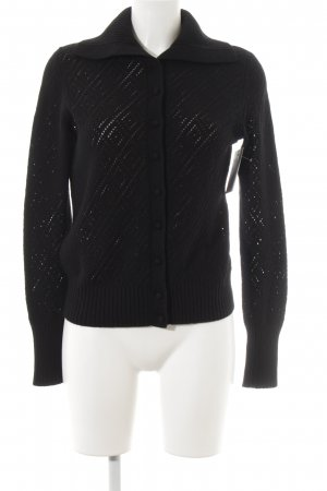 Lands' End Cardigan schwarz Lochstrickmuster Casual-Look