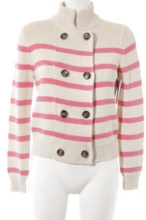 Lands' End Cardigan wollweiß-pink Streifenmuster schlichter Stil