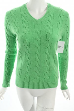 Lands' End Cashmerepullover grün Zopfmuster Casual-Look
