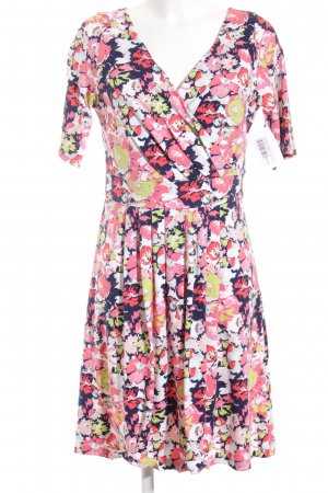 Lands' End Jerseykleid limettengelb-dunkelblau florales Muster Romantik-Look