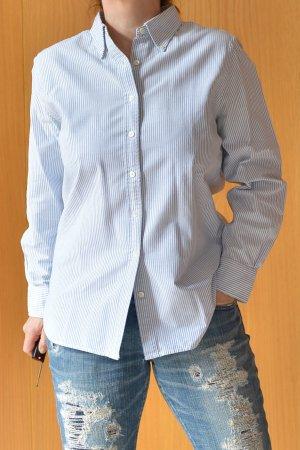 Lands End Landsend Oxford Bluse Hemd Hemdbluse 38 40 gestreift blau weiß Streifen Maritim Baumwolle