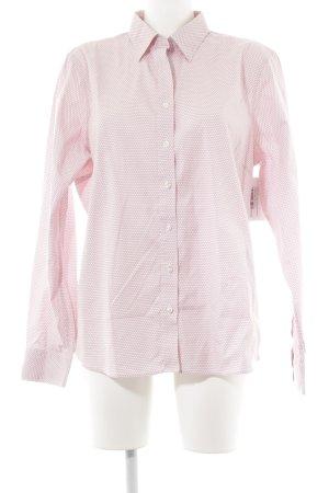 Lands' End Camisa de manga larga blanco-rosa claro estampado a lunares
