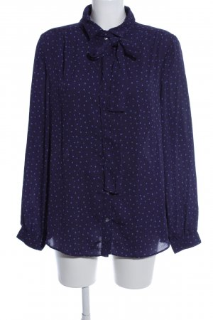 Lands' End Tie-neck Blouse blue allover print business style