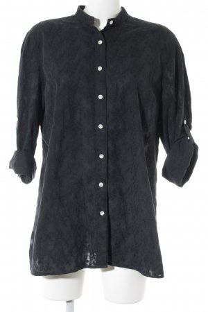Lands' End Stand-Up Collar Blouse black floral pattern simple style