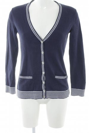 Lands' End Strickjacke dunkelblau-weiß Streifenmuster Casual-Look
