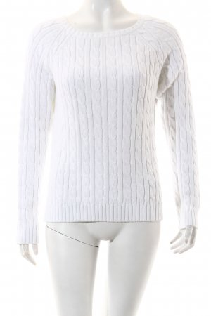 Lands' End Strickpullover weiß Casual-Look