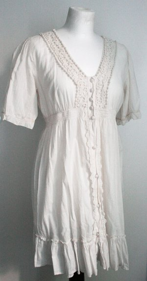 Lang Bluse / Kleid, Weiß/Wollweiß, Gr. M