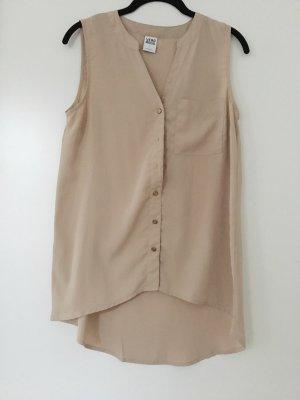 Lang geschnittene Bluse in beige