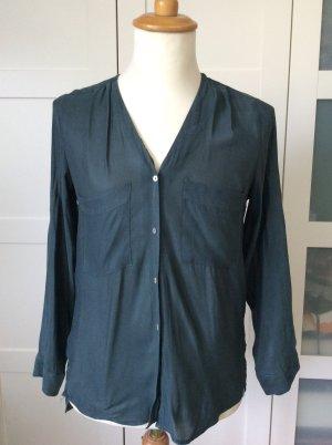 Langärmelige Bluse, dunkelgrün, H&M, Gr . 34