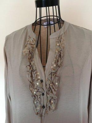Langärmelige Bluse/Shirt mit Rüschen und Pailetten