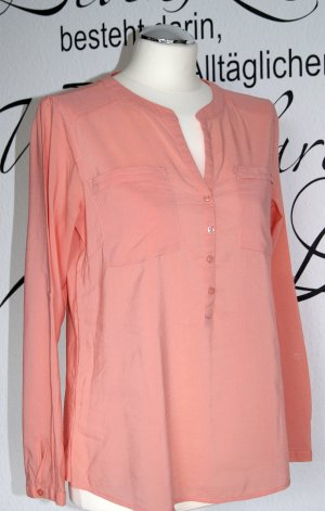 Langärmelige Tunika-Bluse in frischem Orangeton
