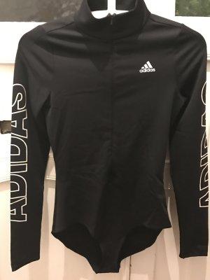 Langärmeliger Sportbody Body von Adidas Sportoberteil mit Reißverschluß in Schwarz S