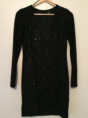 Langärmeliges schwarzes Glitzerkleid Minikleid
