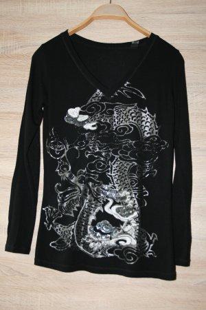 langärmiges T-Shirt schwarz mit  silbernem Aufdruck