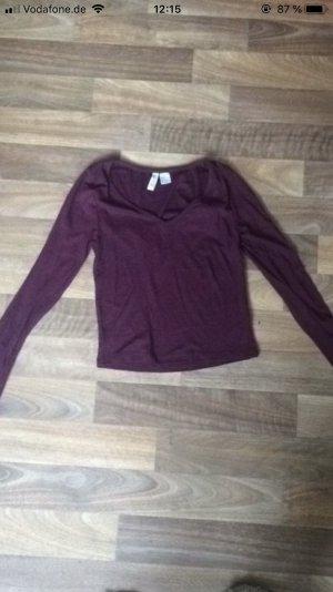 H&M Short Sleeve Sweater blackberry-red