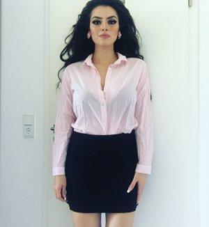 langärmlige basic (business) bluse in hellrosa weiß gestreift