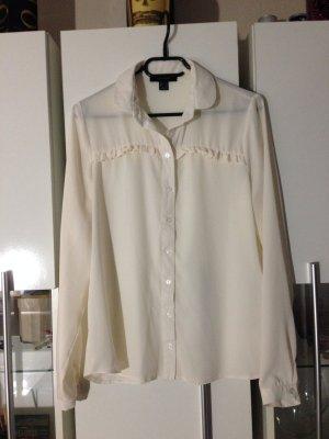 Langärmlige, vorne gerüschte Bluse Gr.38 *NEU ungetragen