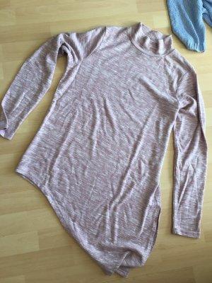 Maglione lungo rosa-bianco