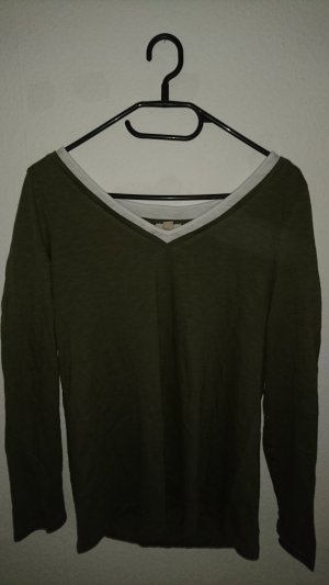 Langärmliges, khakifarbenes Shirt von Esprit in Größe M