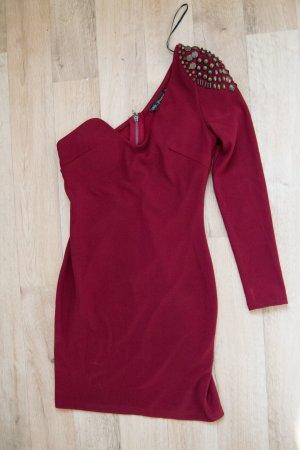 langärmliges One-Shoulder Kleid bordeauxrot