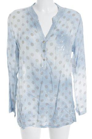 Langarm-Bluse blassblau-grau Punktemuster Beach-Look