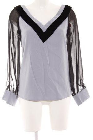 Langarm-Bluse blassblau-schwarz Elegant