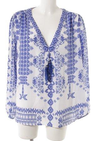 Langarm-Bluse blau-wollweiß Mustermix Casual-Look