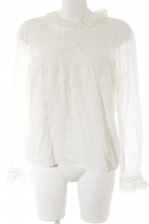 Langarm-Bluse creme florales Muster Elegant