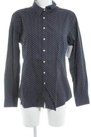 Langarm-Bluse dunkelblau-weiß Punktemuster Elegant