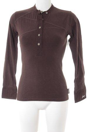 Langarm-Bluse dunkelbraun sportlicher Stil